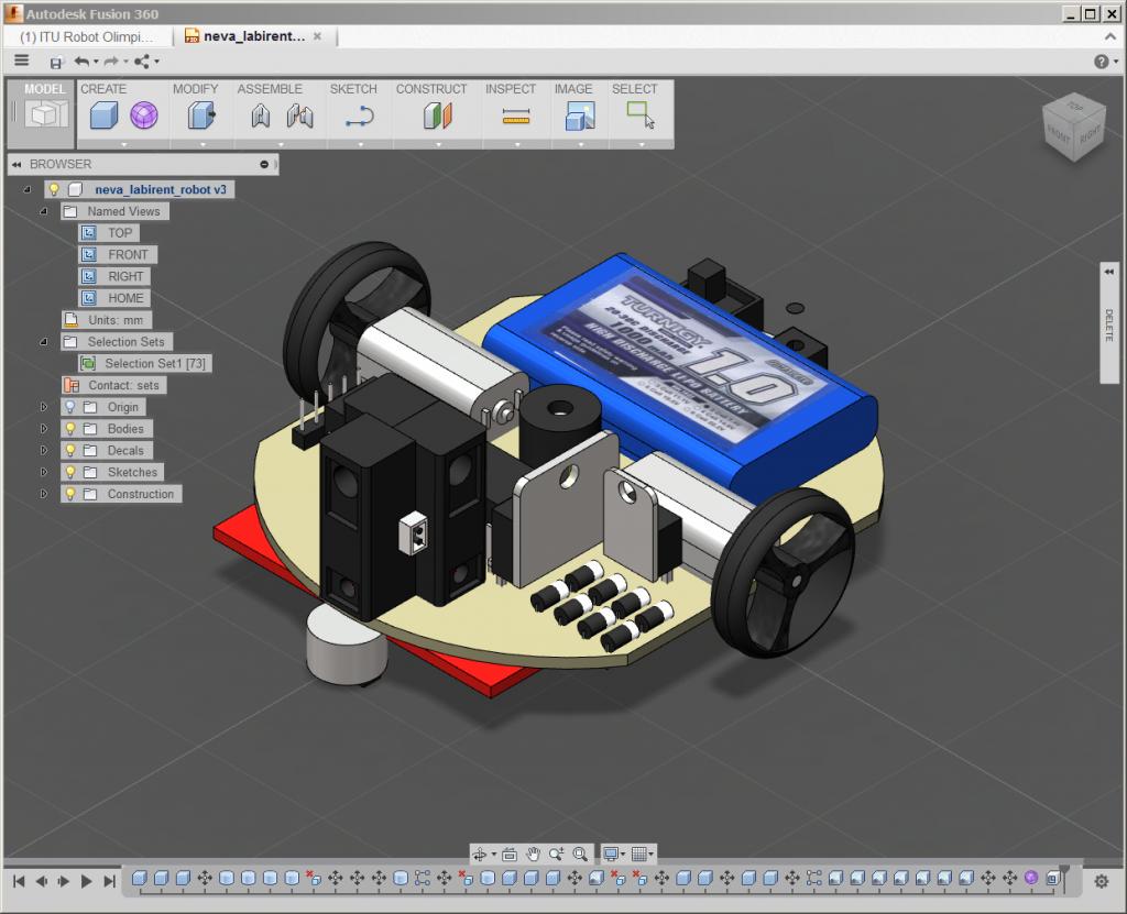 İTURO 2014 Dijital Tasarım Kategorisi Birincisi -  Balıkesir İMKB Teknik ve Endüstri Meslek Lisesi öğrencisi İlyas Köseci tarafından,  yeni nesil tasarım aracı Autodesk Fusion 360 ile gerçekleştirilen robot çalışması